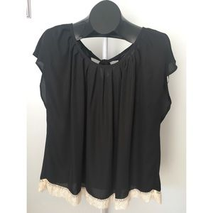Black Short Sleeved Blouse with Cream Lace Trim